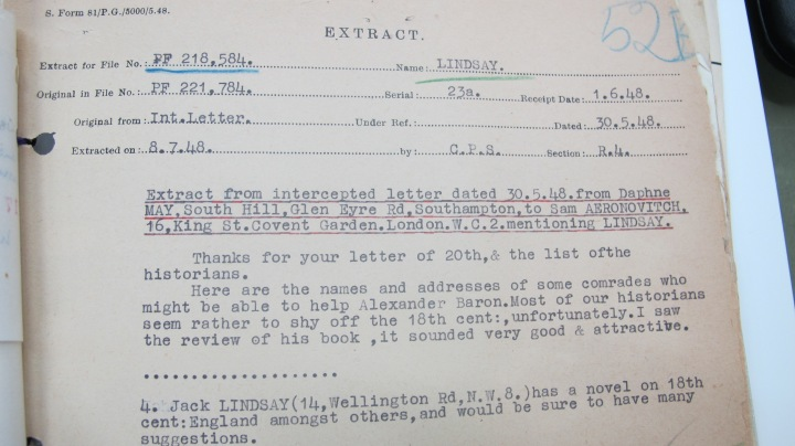 Jack Lindsay Mi5 Report on Letter from Daphne May 30 May 1948
