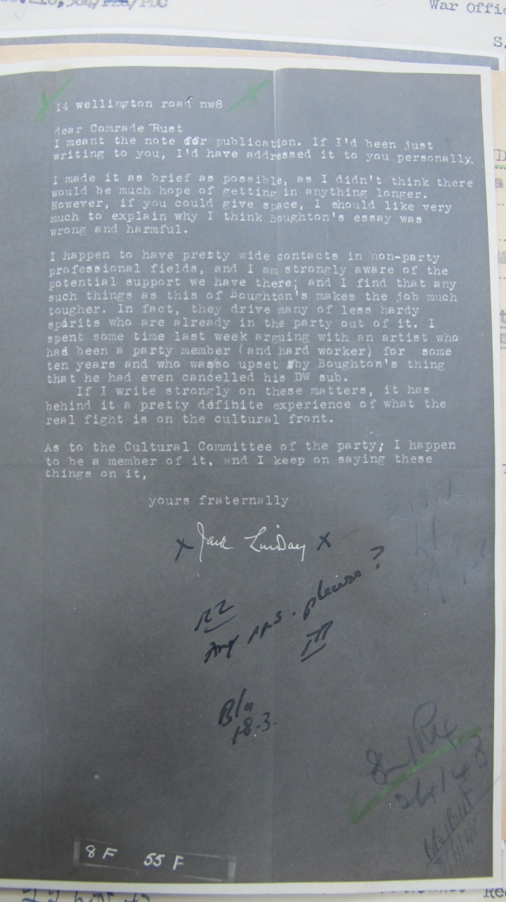 "Mi5 Report on Jack Lindsay Letter to ""Comrade Rust"""