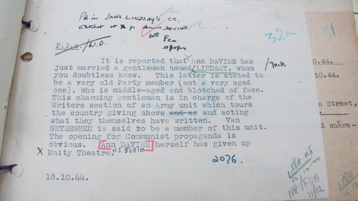 Mi5 Report on marriage between Ann Davies and Jack Lindsay 18 October 1944