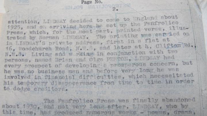 Jack Lindsay Metropolitan Police Report