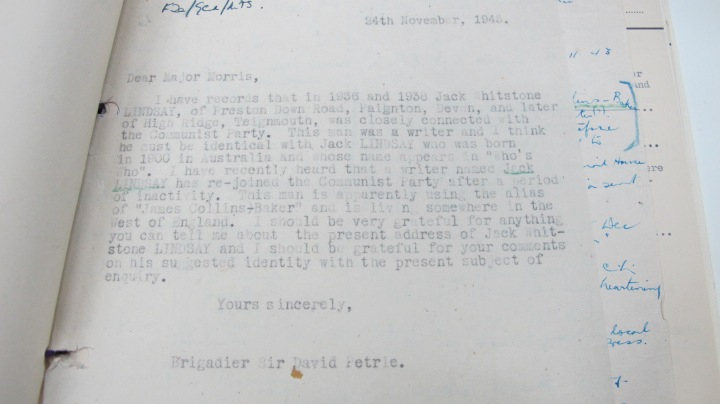 Jack Lindsay Mi5 Report 24 November 1943