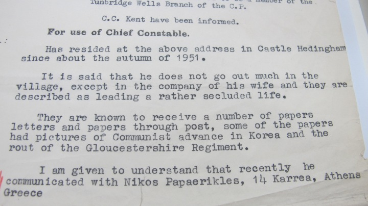 Jack Lindsay Mi5 Report for Chief Constable