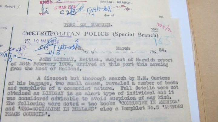 Jack Lindsay Metropolitan Police (Special Branch) Report 10 March 1954