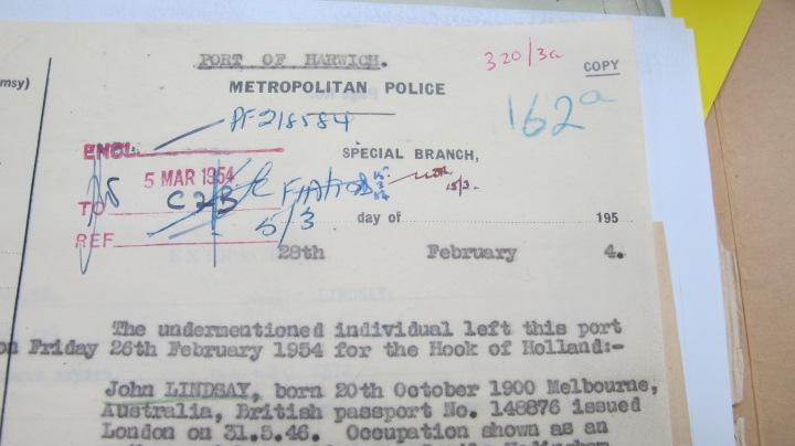 Jack Lindsay Metropolitan Police Special Branch Report 28 February 1954