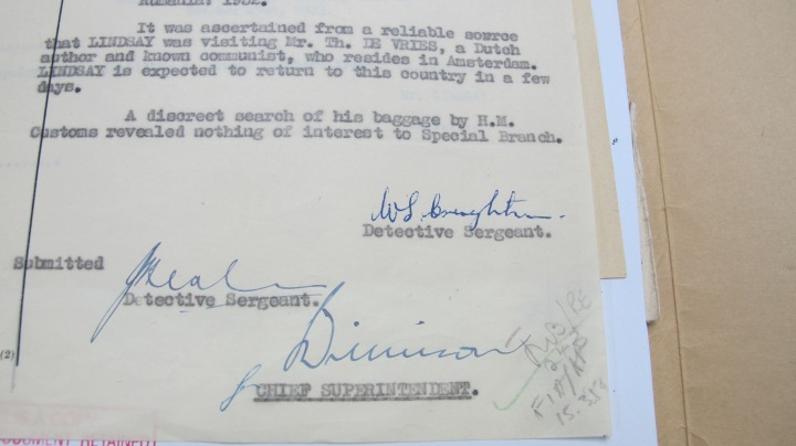 Jack Lindsay Metropolitan Police Report Signatures