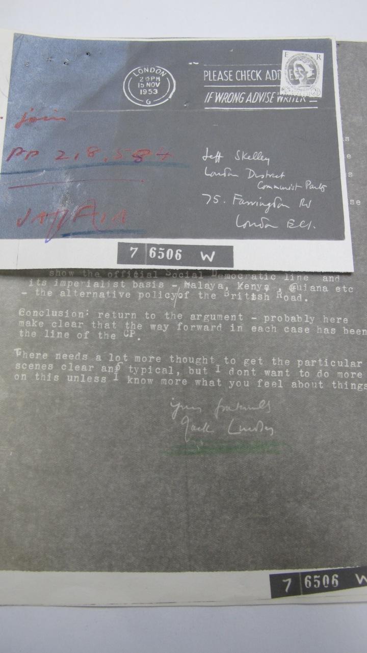 Jack Lindsay Intercepted Letters 15 November 1953
