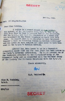 Mi5 Letter Jack Lindsay and the BBC
