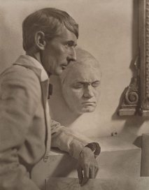 Norman Lindsay with Beethoven's death mask by Harold Cazneaux
